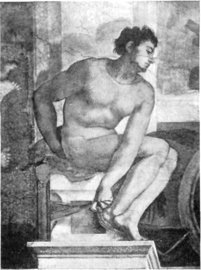 FIG. 40.�MICHAEL ANGELO. ATHLETE. SISTINE, ROME.