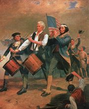 Originally entitled Yankee Doodle, this is one of several versions of a scene painted by A. M. Willard that came to be known as The Spirit of '76. Often imitated (or parodied), it is a familiar symbol of American patriotism.