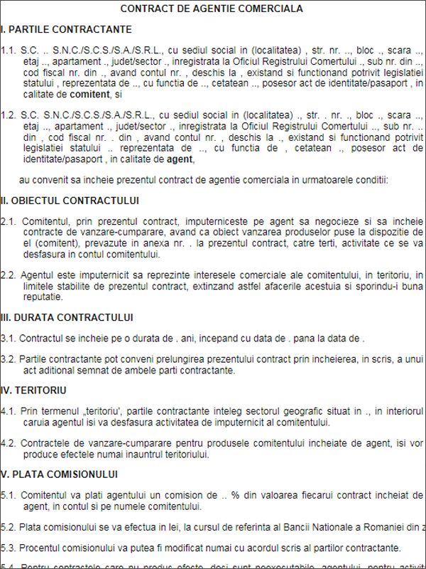 Model - contract de agentie comerciala