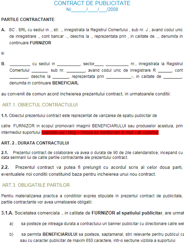 Contract de publicitate - FORMULAR TIP