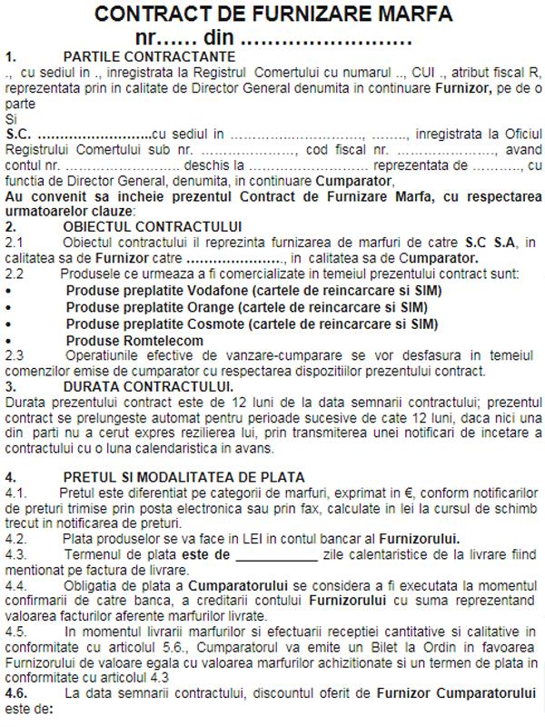 Contract de furnizare marfa - EXEMPLU
